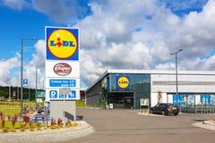 Lidl supermarket near Pruszcz Gdanski. ROTMANKA, POLAND - AUGUST 23, 2017: Newly built Lidl supermarket near Pruszcz Gdanski, Poland.  Lidl is a German discount Royalty Free Stock Photography