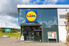 Lidl supermarket near Pruszcz Gdanski. ROTMANKA, POLAND - AUGUST 23, 2017: Newly built Lidl supermarket near Pruszcz Gdanski, Poland.  Lidl is a German discount Royalty Free Stock Image