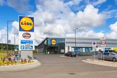 Lidl supermarket near Pruszcz Gdanski. ROTMANKA, POLAND - AUGUST 23, 2017: Newly built Lidl supermarket near Pruszcz Gdanski, Poland.  Lidl is a German discount Royalty Free Stock Photo