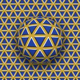 Rotolamento della palla lungo la superficie dei triangoli Illustrazione astratta di illusione ottica di vettore Fotografia Stock Libera da Diritti