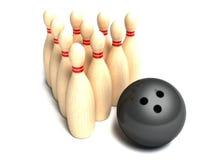 Rotolamento della sfera di bowling verso i perni Fotografie Stock Libere da Diritti