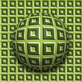 Rotolamento modellato della palla lungo lo stessi superficie Illustrazione astratta di illusione ottica di vettore Fondo di moto Immagine Stock Libera da Diritti