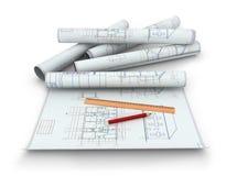 Rotoli dei disegni di ingegneria royalty illustrazione gratis