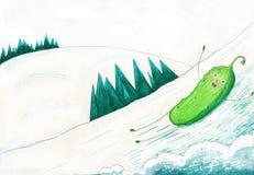 Rotoli del cetriolo con gli scorrevoli del ghiaccio Immagini Stock Libere da Diritti