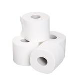 Rotoli del mucchio della carta igienica isolati su bianco Fotografia Stock