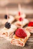 Rotoli del pancake fotografie stock