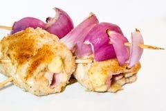 Rotoli deliziosi del pollo farciti Immagini Stock