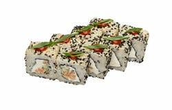 Rotoli di sushi asiatici tradizionali del piatto con frutti di mare isolati su bianco Fotografia Stock Libera da Diritti
