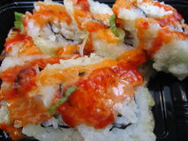 Rotoli di sushi giapponesi caldi e piccanti Fotografia Stock