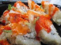 Rotoli di sushi giapponesi caldi e piccanti Immagini Stock Libere da Diritti
