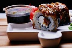 Rotoli di sushi giapponesi di cucina macro Fotografie Stock