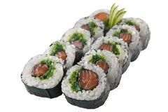 Rotoli di sushi giapponesi su fondo bianco Fotografie Stock