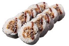 Rotoli di sushi giapponesi su fondo bianco Immagini Stock
