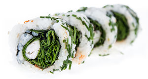 Rotoli di sushi isolati su fondo bianco Fotografia Stock