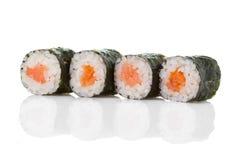 Rotoli di sushi isolati su un bianco Fotografie Stock