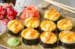 Rotoli di sushi messi Fotografia Stock Libera da Diritti