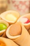Rotoli di Tokyo, pancake, tortini della salsiccia Immagine Stock Libera da Diritti