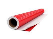 Rotoli il film del PVC, isolato su fondo bianco, rappresentazione 3D Fotografie Stock