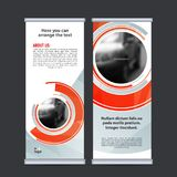 Rotoli sul vettore verticale del modello di progettazione dell'insegna di affari Fotografie Stock Libere da Diritti