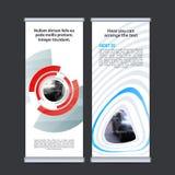 Rotoli sul vettore verticale del modello di progettazione dell'insegna di affari Immagini Stock Libere da Diritti