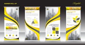 Rotoli sulla progettazione del modello del supporto dell'insegna, disposizione gialla dell'insegna illustrazione di stock