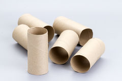 Rotoli vuoti della carta velina della toilette di Brown Immagini Stock