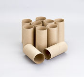 Rotoli vuoti della carta velina della toilette di Brown Fotografia Stock