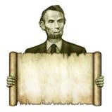 Rotolo in bianco tenuto da Abraham Lincoln Fotografia Stock Libera da Diritti