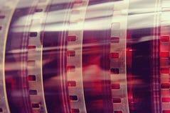 Rotolo d'annata della striscia di pellicola di fotografia del primo piano Fotografie Stock