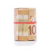 Rotolo dei dollari canadesi Immagini Stock