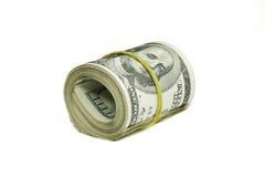 Rotolo dei dollari isolati su un fondo bianco Fotografia Stock Libera da Diritti