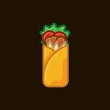 Rotolo del panino dell'icona di vettore con carne e le verdure su fondo scuro Shawarma degli alimenti a rapida preparazione dell' Immagine Stock