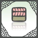 Rotolo del riso di sushi del profilo di vettore con l'icona di color salmone dell'alimento del Giappone della carne di pesce crud Fotografie Stock