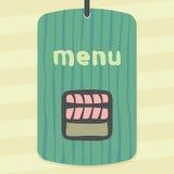 Rotolo del riso di sushi del profilo di vettore con l'icona di color salmone dell'alimento del Giappone della carne di pesce crud Fotografia Stock