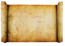Rotolo dell'annata della priorità bassa della pergamena isolato su w Fotografia Stock