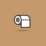 Rotolo dell'icona di vettore della carta igienica con il bordo regolare su fondo marrone illustrazione vettoriale