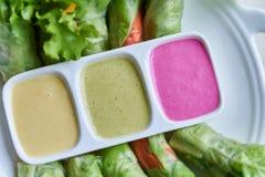 Rotolo dell'insalata della verdura fresca con il condimento dell'insalata variopinto tre Fotografia Stock Libera da Diritti