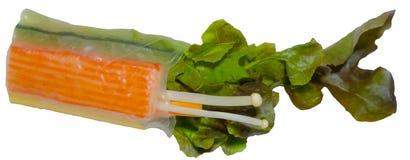 Rotolo dell'insalata della verdura fresca con insalata verde e fungo e Cr Fotografia Stock Libera da Diritti