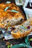 Rotolo della carne di maiale del pistacchio e della salvia Fotografia Stock