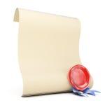 Rotolo della carta in bianco con la guarnizione della cera Fotografia Stock