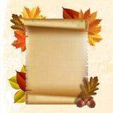Rotolo della carta in bianco con le foglie di autunno Immagine Stock Libera da Diritti
