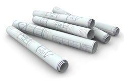 Rotolo della cianografia di carta in bianco Fotografia Stock