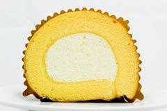 Rotolo della crema della vaniglia Fotografia Stock