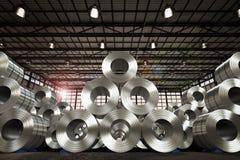 Rotolo della lamiera di acciaio in fabbrica Immagine Stock Libera da Diritti
