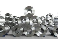 Rotolo della lamiera di acciaio in fabbrica Fotografia Stock
