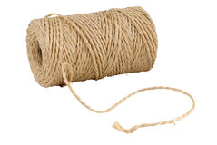 Rotolo della stringa della canapa isolato su bianco immagine stock