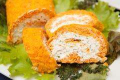 Rotolo delle carote della ricotta Fotografia Stock