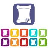 Rotolo di carta con le icone della guarnizione della cera messe Immagini Stock Libere da Diritti
