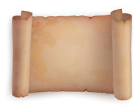 Rotolo di carta o vecchio rotolo orizzontale, pergamena Fotografia Stock