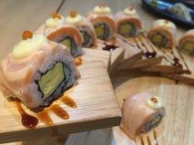 Rotolo di color salmone di Shushi Fotografia Stock Libera da Diritti